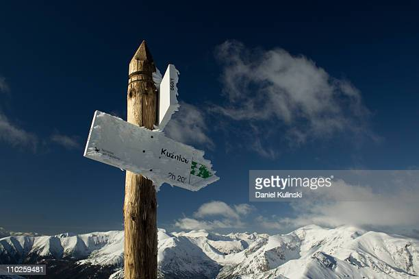 Snow-covered guidepost
