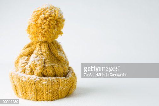 Snow-covered knit hat