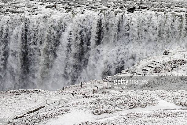 Snow-covered path to overlook at Dettifoss