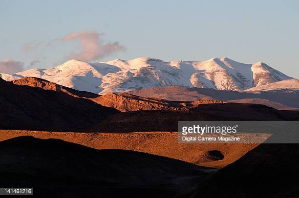 Snowcovered peaks in the Atlas Mountain range in North Africa taken on November 4 2008