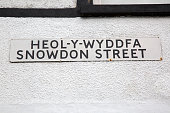 Snowdon Street Sign in English and Welsh Languages