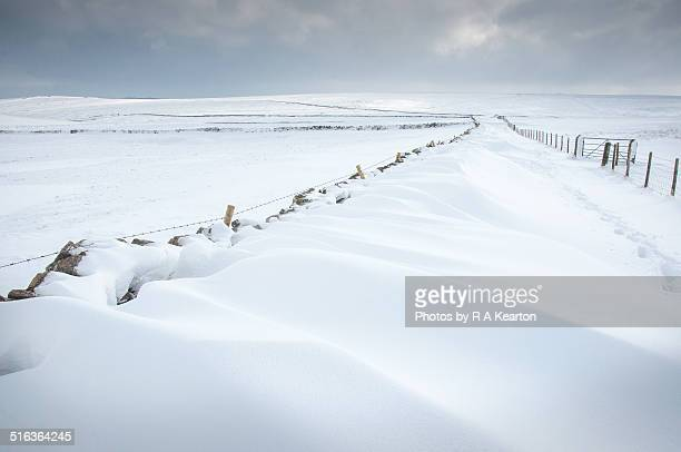 Snowdrifts in countryside near Castleton