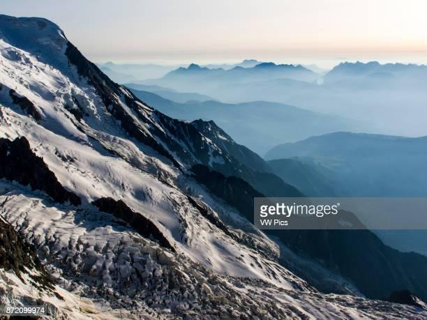 Snowed alpine landscape in the Mont Blanc massif
