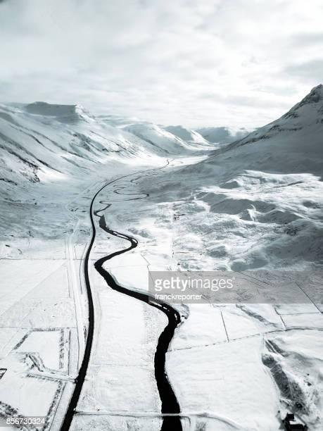 snowed landscape in iceland