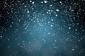 Fluffy snowflakes slowly falling in front of a blue background with vignette