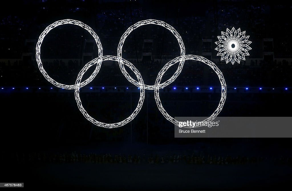 Snowflakes transform into four Olympic rings with one failing to form during the Opening Ceremony of the Sochi 2014 Winter Olympics at Fisht Olympic Stadium on February 7, 2014 in Sochi, Russia.