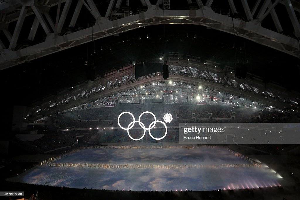 Snowflakes transform into four Olympic rings with one failing to form during the Opening Ceremony of the Sochi 2014 Winter Olympics at Fisht Olympic...