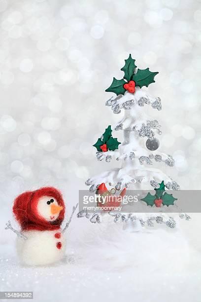 Snowgirl and Christmas tree