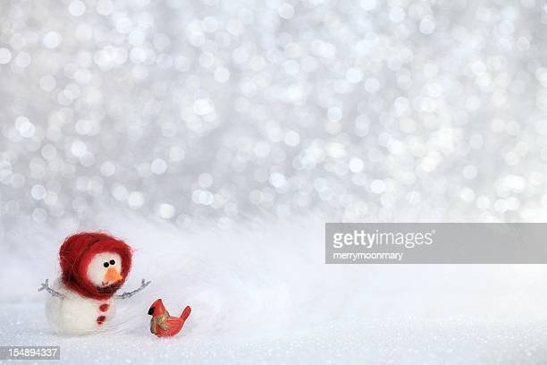 Snowgirl with bird