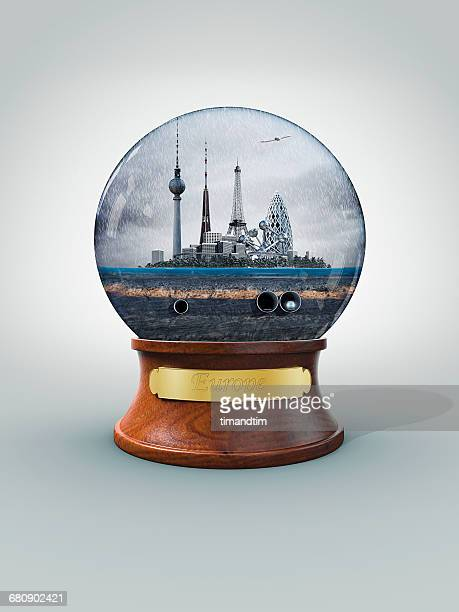 Snowglobe of Europe in a rainy day