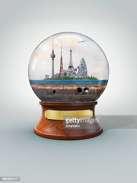 Snowglobe of Europe in a sunny day