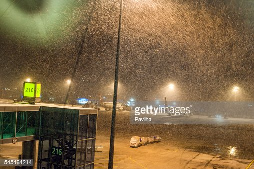 Snowing at Ataturk Airport Istanbul,morning, snowstorm,  Istanbul,Turkey