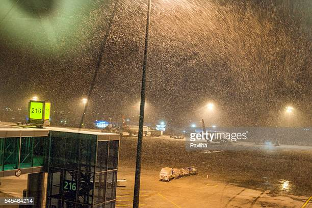 Snowing at Ataturk Airport Istanbul,morning, snowstorm,  Istanbul,Turkey