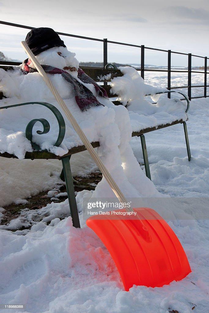 Snowman at work : Stock Photo