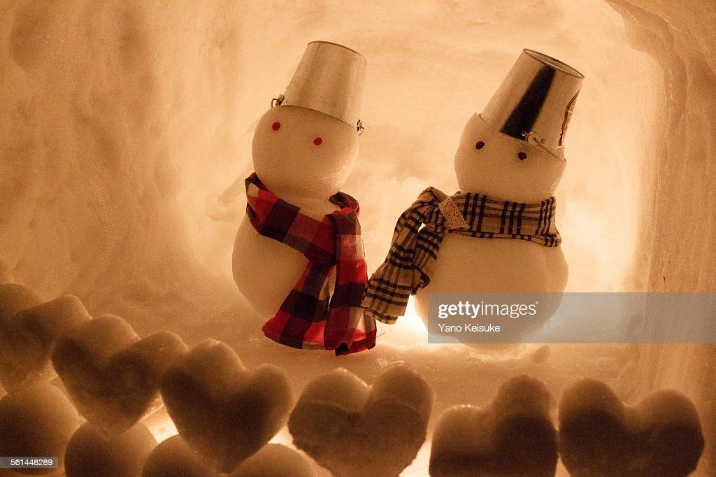 Snowman couple : Stock Photo