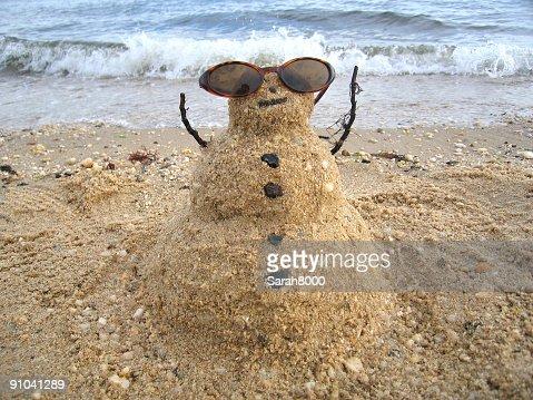 Snowman enjoying the sun