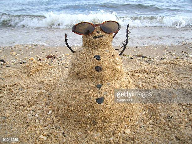 Snowman enjoying the sun