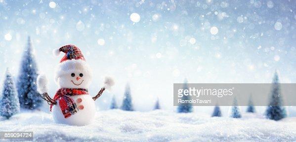 Snowman In Wintry Landscape : Foto stock