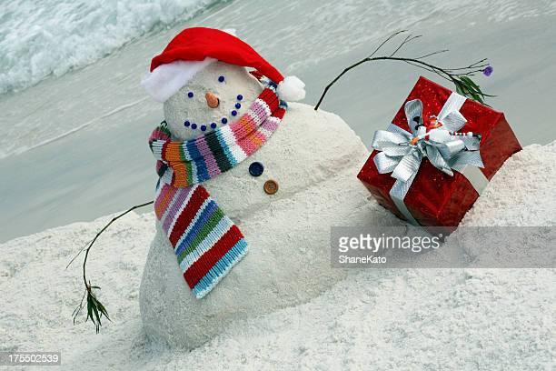 Snowman made of Sand on Florida Beach for Christmas