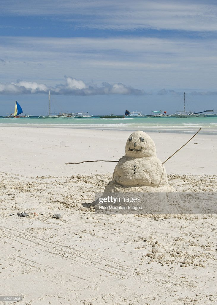 Snowman on the Beach : Stock Photo