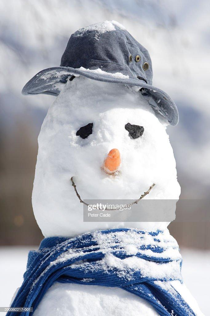 Snowman, portrait, close-up : Stock Photo