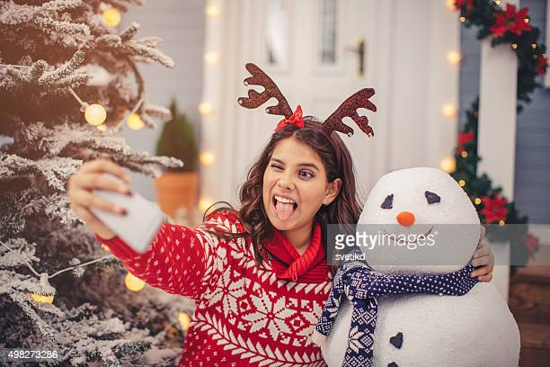 Bonhomme de neige selfie.