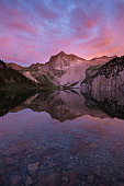Snowmass peak reflected in Snowmass Lake near Aspen, Colorado.