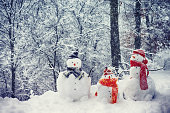Snowmen Family: Mother, Father and Son / Daughter