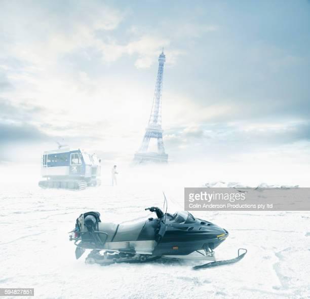 Snowmobile near Eiffel Tower, Paris, Ile