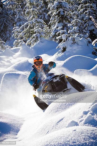 Snowmobiling.