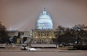 A snowplough cleans the snow in front of the US Congress building in Washington DC on February 16 2015 The eastern United States braced for an arctic...
