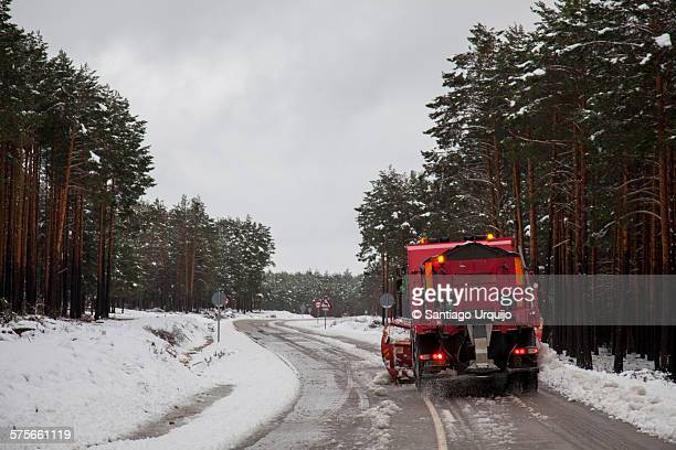 Snowplow cleaning a road