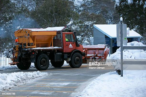 Snowplow clears the Alpine Way on the opening weekend of the season on June 25 2016 in Thredbo Australia Snow has been forecast across Eastern...