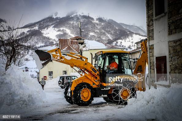 Snowplow in Campotosto Italy on January 19 2017 A great deal of snow has fallen in the area which was hit by four quakes on Wednesday Four strong...