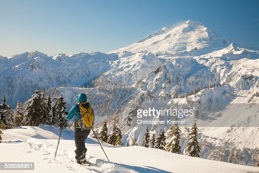 Snowshoeing At Mount Baker Washington Stock Photo  Getty ...