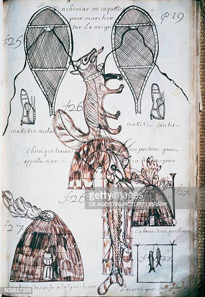 Snowshoeing dog sledding Indian hut and costumes drawing from Codex Canadensis and the Writings by Louis Nicolas formerly attributed to Becard...