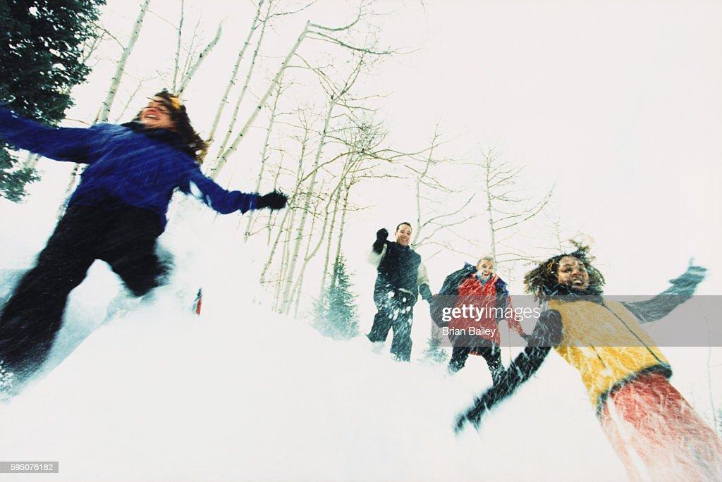 Snowshoers Descending