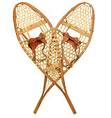 A pair of traditional snowshoes.