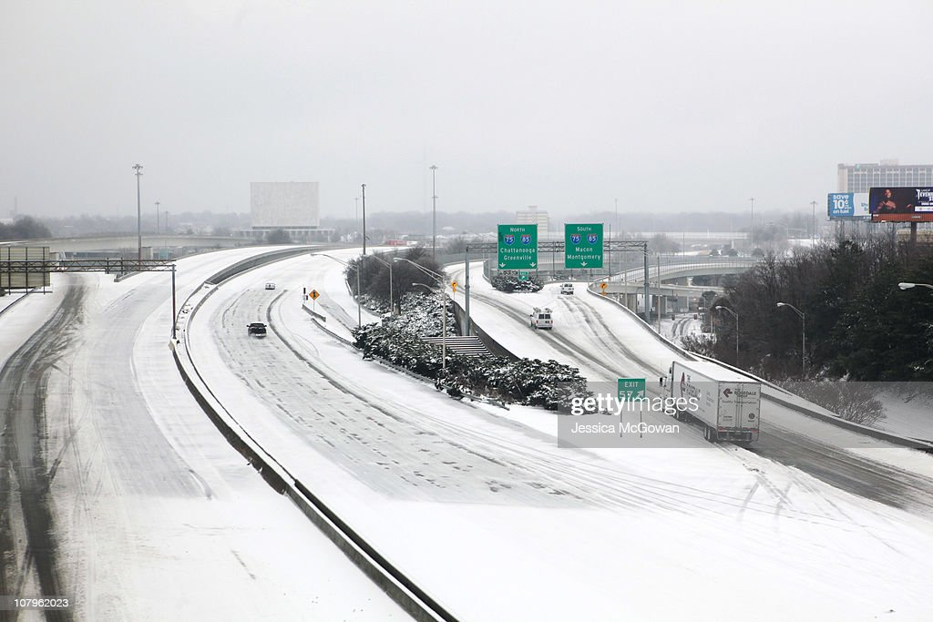 A snowy and icy view of I20 in Atlanta is visible from a Marta train after a snow storm on January 10 2011 in Atlanta Georgia Atlanta Mayor Kasim...