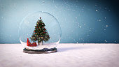 3D render of a snow ball with a Christmas tree inside.