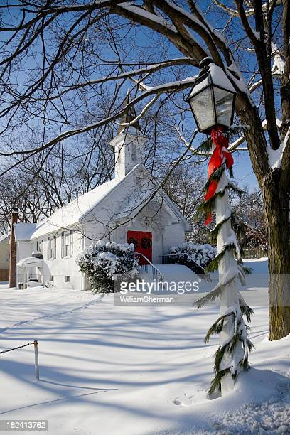 Snowy Country Church at Christmas Time