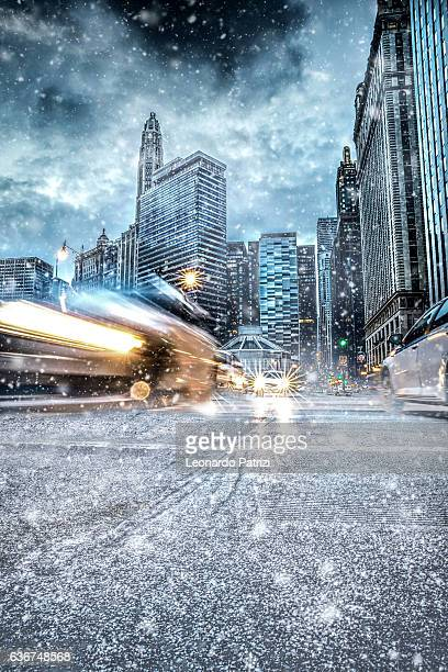 Snowy downtown streets in Chicago