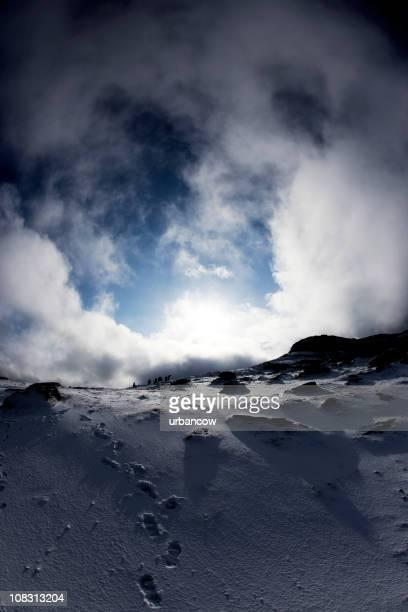 Snowy Fußabdrücken bis Haytor und Dartmoor-Nationalpark