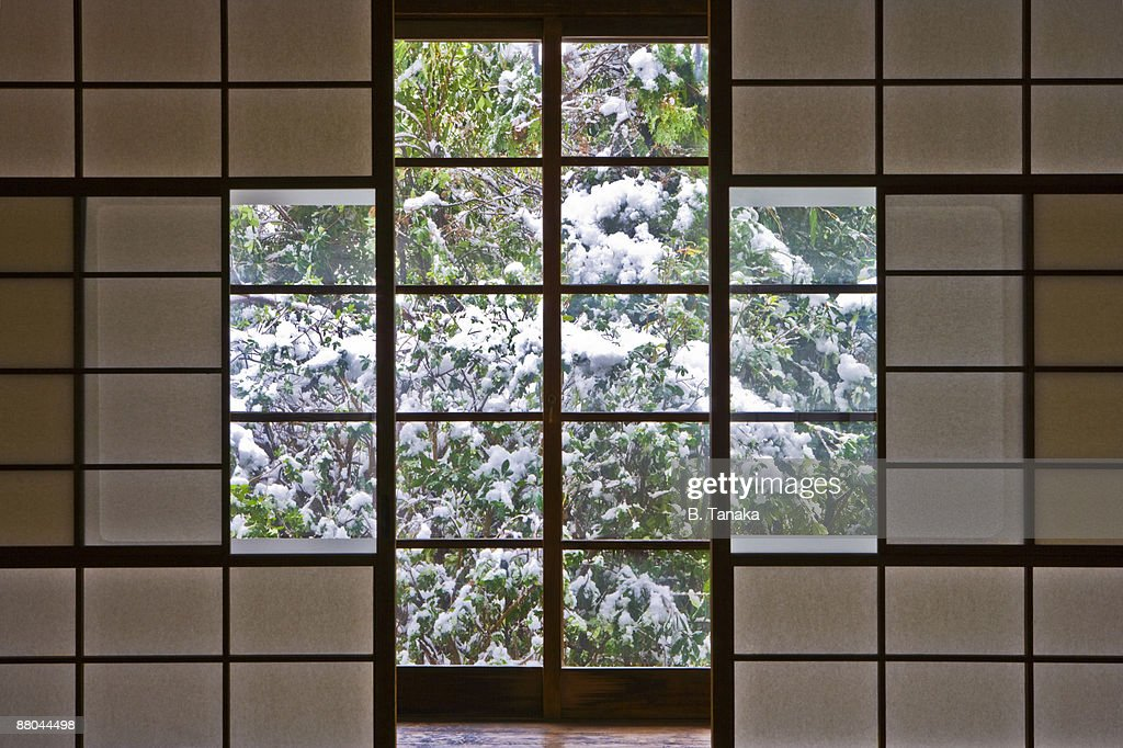 Snowy Garden and Traditional Japanese Interior : Stock Photo