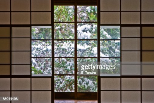 Snowy Garden and Traditional Japanese Interior