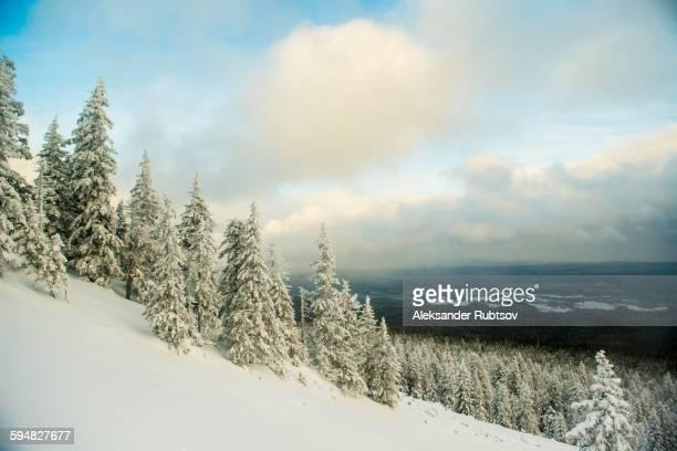 Snowy hillside over remote landscape