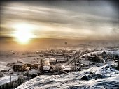 Snowy landscape with houses in Yellowknife