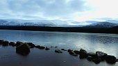Snowy Loch Morlich in the Scottish Highlands