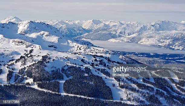 Snowy mountain peaks and valley scene