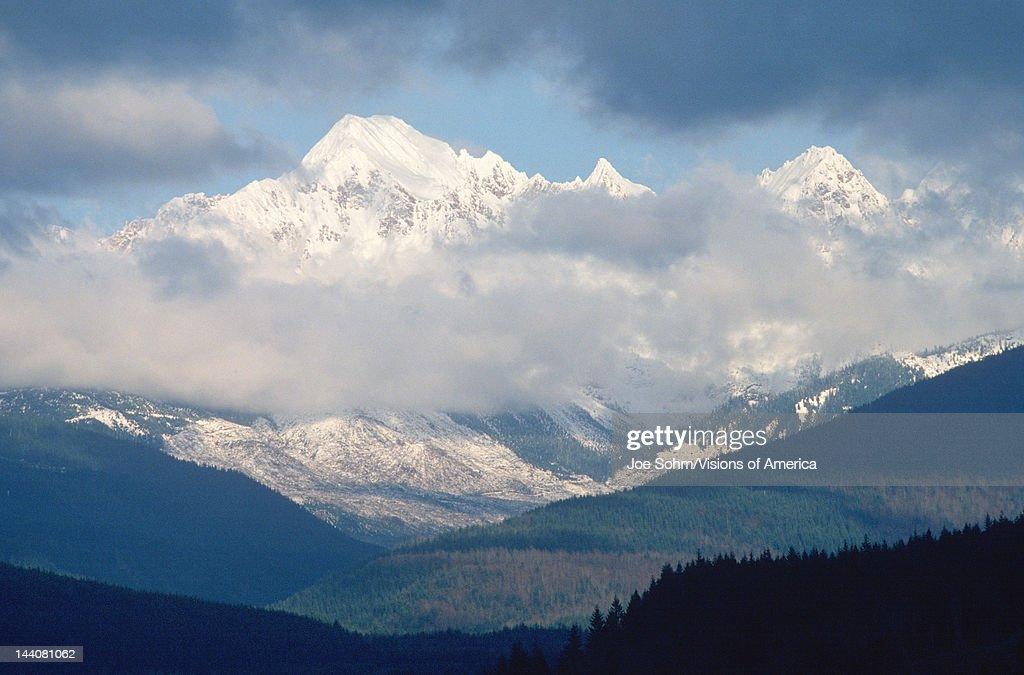 Snowy mountain peaks of Mt Baker, Washington